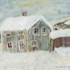 Gammalt hus, Undersåker, Jämtland, gouache 50x47cm