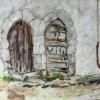 Gamla kyrkdörrar, Puimoisson, Frankrike, gouache 42x35cm