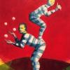 Akrobater, blandteknik på grafikpapper, 18x24cm